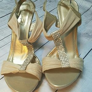 d98db497b David s Bridal · David s bridal heels gold rhinestone sandals